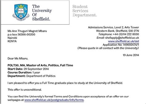Acceptance Letter For Rights Issue Mbaru Joins Sheffield For Master S Degree Entertainment Today