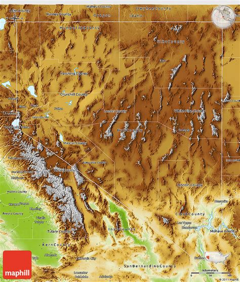 physical map of nevada physical 3d map of nevada