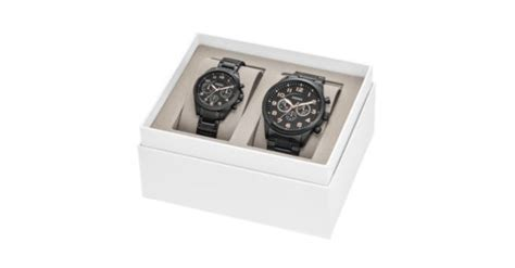 Fossil Gift Card Balance - his and her chronograph black stainless steel watch gift set fossil