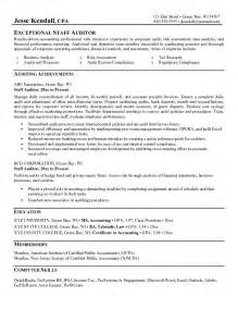 Auditor Resume Objective exle staff auditor resume free sle