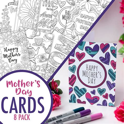 clark mothers day card templates s day coloring cards 8 pack clark