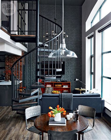 chic industrial loft design idea showcases original loft tour retro industrial design spiral staircases