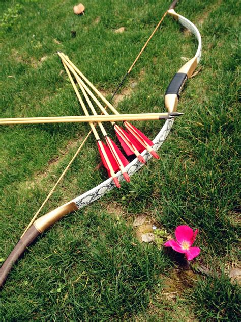 Handmade Bow And Arrow - handmade 6 wooden arrows white leather bow