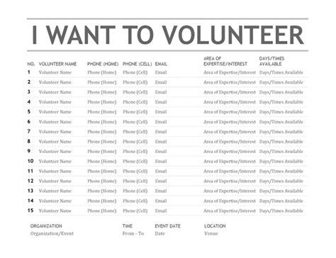 volunteer list template volunteer list office templates