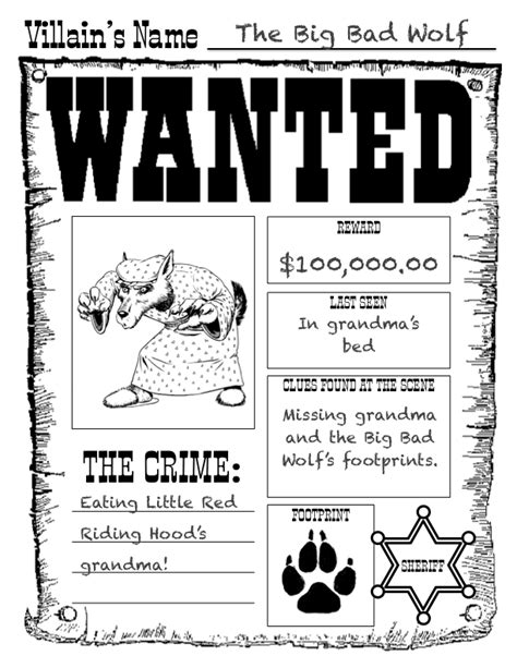 Printable Wanted Poster For The Big Bad Wolf | kearson s classroom the big bad wolf