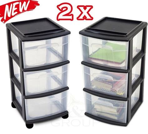 5 Drawer Plastic Storage Cart by Sterilite 3 Drawer Plastic Rolling X 2 Set Cabinets Cart