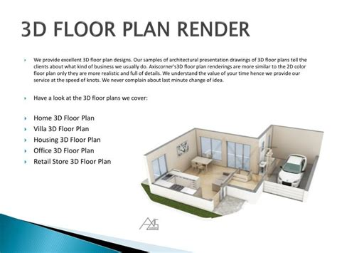 3d floor plan rendering ppt 3d rendering company india services powerpoint