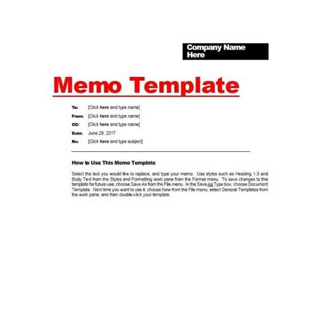 Free Memo Template by Memo Template