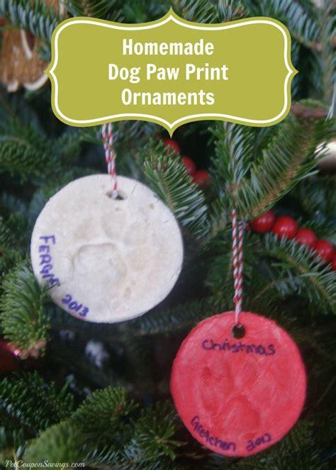 homemade dog paw print ornaments  cute  simple