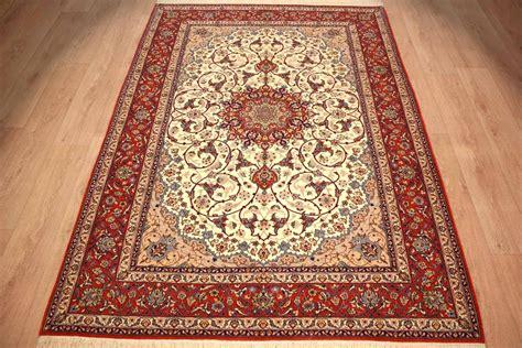 Teppich Perserteppich Isfahan Mit Seide 236x164 Cm Beige