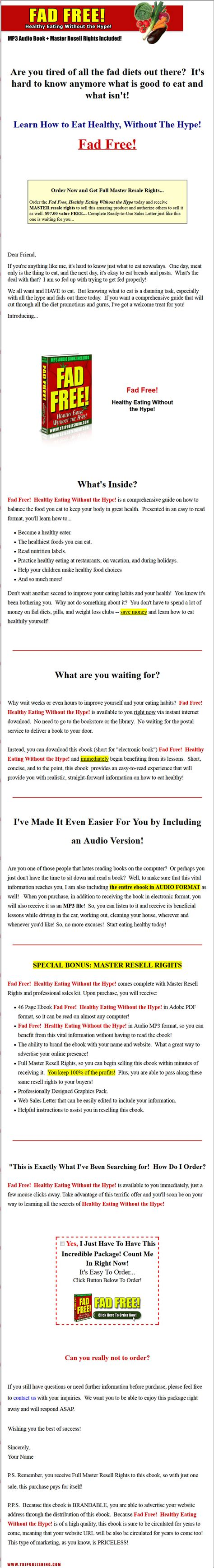 Plr Ebooks With Giveaway Rights - fad free healthy eating plr ebook with private label rights