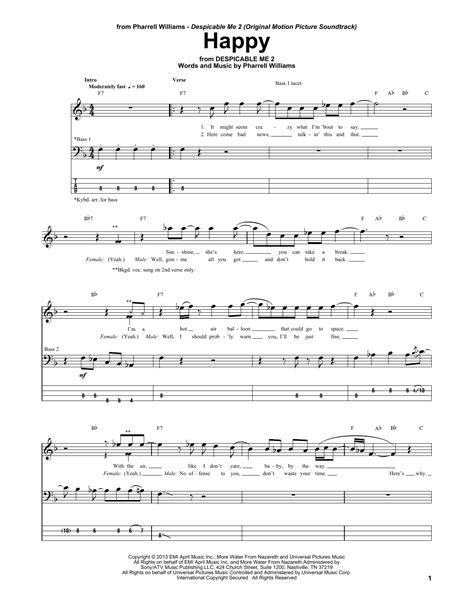 printable lyrics to happy by pharrell williams happy bass guitar tab by pharrell bass guitar tab 160289