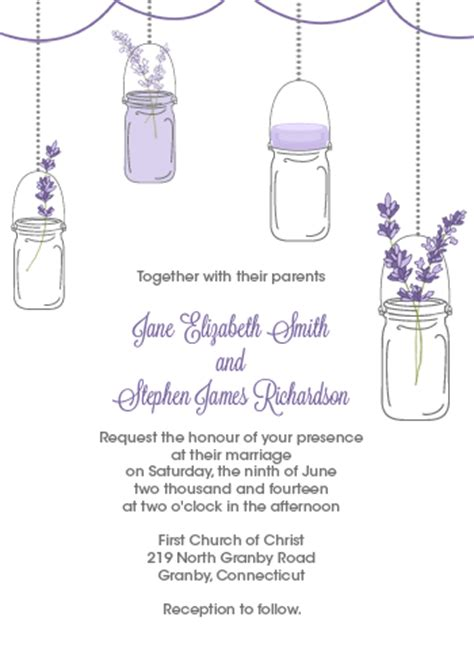 mason jar and lavender invitation and rsvp set wedding