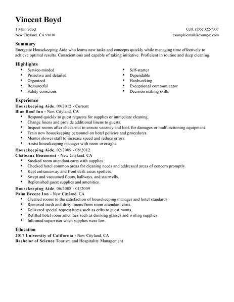 Housekeeping Resume Exles by Housekeeping Aide Resume Exle Hotel Hospitality Sle Resumes Livecareer