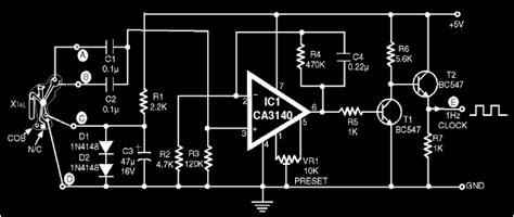 clock generator circuit diagram 1hz clock generator circuit using cob top circuits