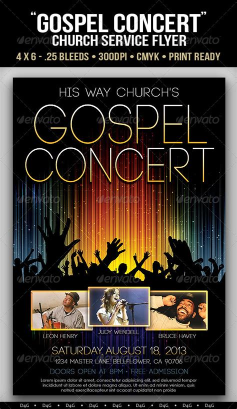 Concert Flyer Template Free gospel concert lights flyer template on behance