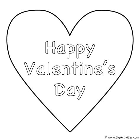 Simple Heart Happy Valentine S Day Coloring Page Happy Valentines Day Coloring Pages