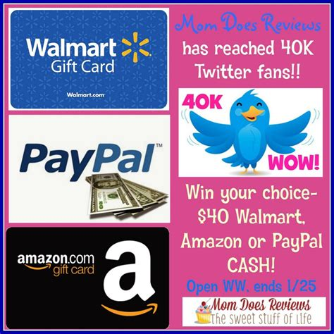 Walmart Amazon Gift Card - 40 paypal walmart or amazon gift card giveaway ends 1 25 optimistic mommy
