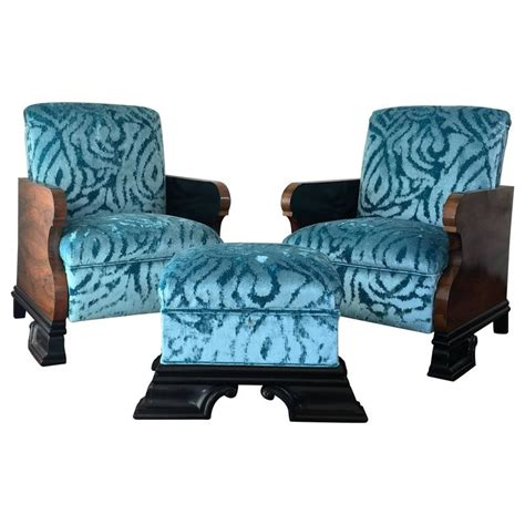 armchairs and ottomans pair of art deco armchairs and ottoman in turquoise velvet