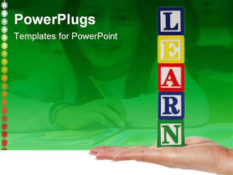 powerpoint template for education a holding blocks spelling educate powerpoint