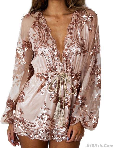 sexy glitter sequin rose flower gold  neck long sleeve