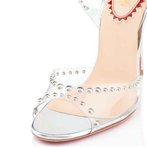 Sandal Merk Nevada Uk 37 Dan 41 christian louboutin icone een clous 100mm pvc sandalen