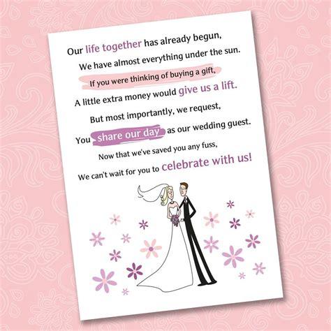 poem wedding invitation wording sles 25 x wedding poem cards for your invitations ask politely for money gift