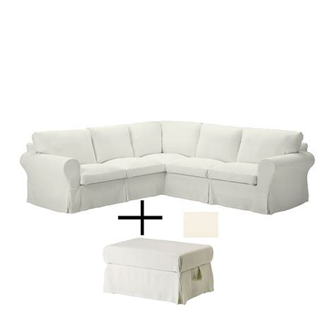 Ikea White Slipcover by Ikea Ektorp Corner Sofa And Footstool Slipcovers Stenasa White 4 Seat Sectional And Ottoman Covers