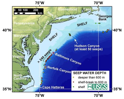 Continental Shelf Atlantic by Northern U S Atlantic Margin Map Showing Major Canyons