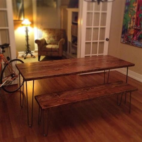 6ft hairpin leg dining table and matching bench modern