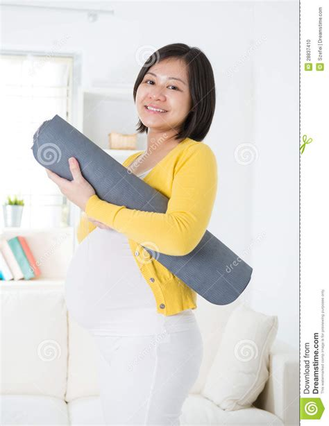 Pregnancy Mat by Holding Mat Stock Photo Image