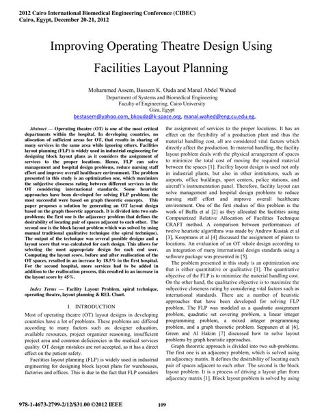 facility layout journal pdf improving operating theatre design using pdf download