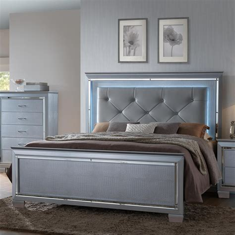 lighted headboard bedroom set crown mark lillian queen headboard and footboard bed with
