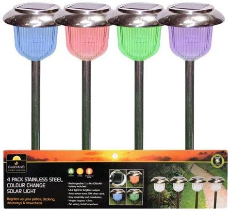 4 X Colour Changing Solar Lights Garden Ls With Rechargeable Batteries For Solar Garden Lights