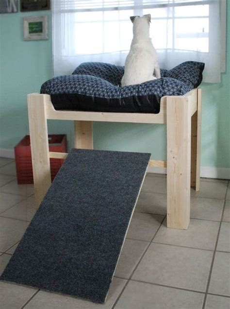 wood raised elevated dog bed furniture  ramp