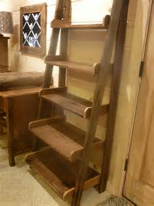 Mission Style Solid Wood Bookcase Farmhouse Ladder Shelf Fence Row Furniture