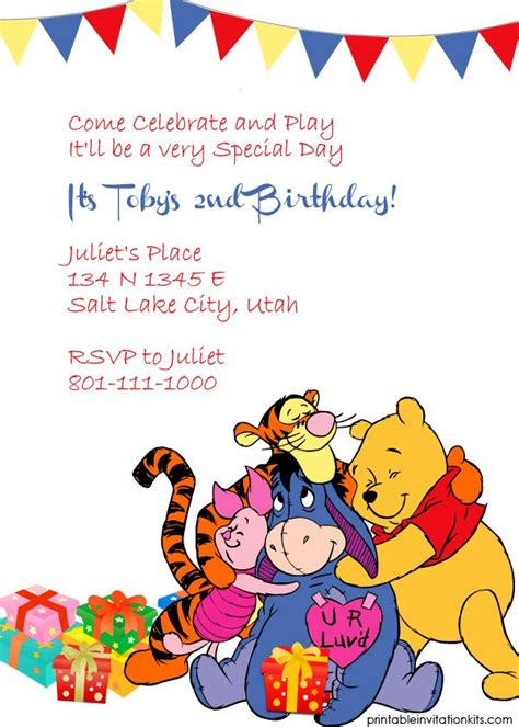 Winnie The Pooh Birthday Invitations Templates 164 best images about card sketches templates printables on birthday invitation