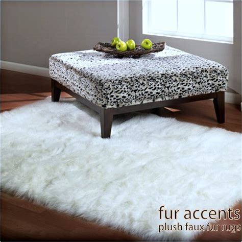 Fuzzy White Area Rug 5 Faux Fur Rectangular Sheepskin Area Rug Bright White Or White Skin Accent Pelt Rug