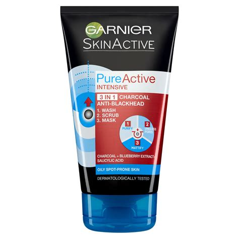 Scrub Garnier garnier active 3in1 charcoal blackhead mask