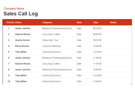 Sales Call Log And Organiser Sales Call Log Template