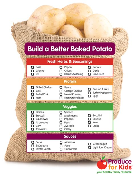 baked potato bar toppings build a better baked potato produce for kids