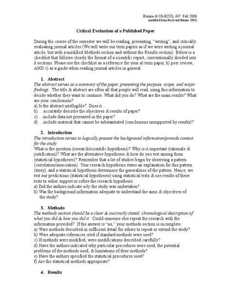 Critically Evaluate Essay by Critically Evaluating Scientific Papers 2006