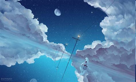 anime clouds sky wallpapers hd desktop  mobile