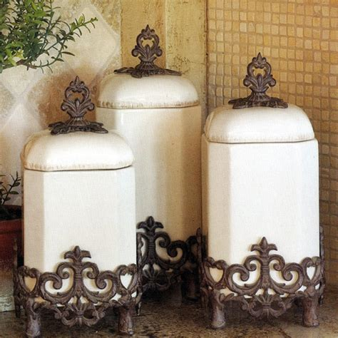 Italian Style Kitchen Canisters The Gg Collection Provencal Canister Set In Cream