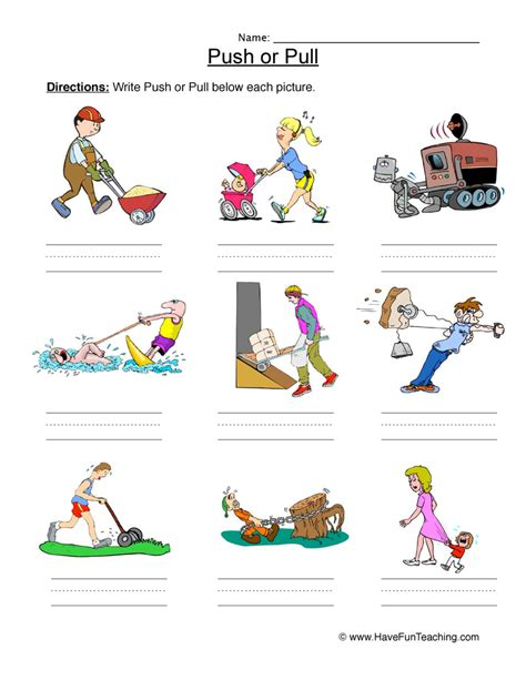 Push And Pull Worksheets For Kindergarten by Worksheet Push Or Pull