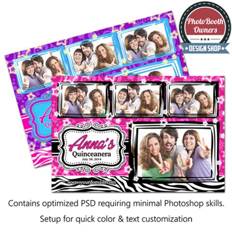 Quinceanera Celebration Postcard Photo Booth Template Quinceanera Photo Booth Template