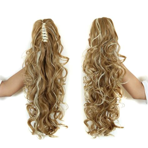 gfabke hair pieces in bsrrel curl 20 long claw clip drawstring ponytail fake hair