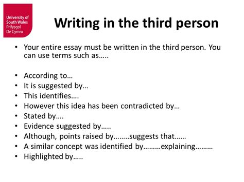 Writing An Essay In Third Person by Developing Higher Level Study Skills Ppt