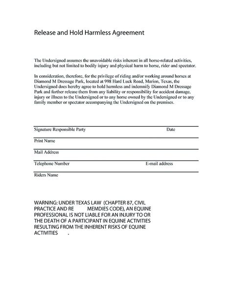Letter Of Recommendation Verbiage doc 400518 hold harmless agreements hold harmless