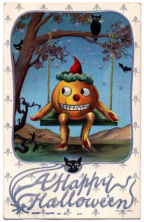 vintage halloween graphic pumpkin man  swing  graphics fairy